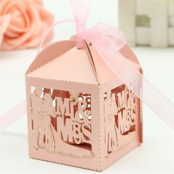 BolehDeals 50pcs Mr&Mrs Bride Groom Laser Cut hollow Gift Candy Boxes Wedding Party Favor Pink