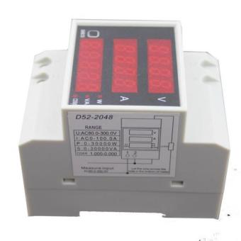 BolehDeals D52-2048 Digital Din Rail Current Voltage Power Meter Ammeter Voltmeter - intl