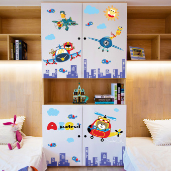 Boy's bedroom children's room bedside cabinet wall adhesive paper