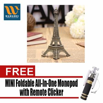 Bronze Tone Paris Eiffel Tower Figurine Miniature Statue VintageModel Decor Small with Free Mini Foldable All