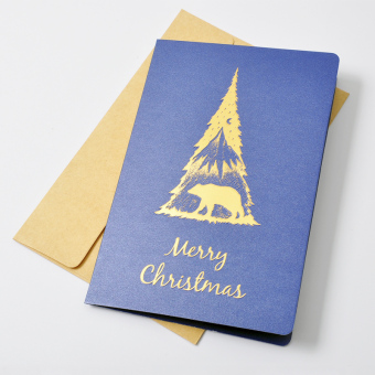 Bump New style Christmas greeting cards deer polar bear thank you card Greeting Card