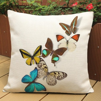 Butterfly Painting Linen Cushion Cover Throw Waist Pillow Case SofaHome Decor E - intl