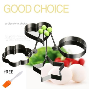 Candy Online 4pcs Set Stainless Steel Pancake Mould Kitchen FriedEgg Shaper Cooking Tools Free BBQ Brush