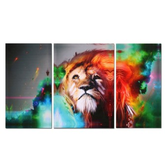 Canvas Prints Home Decor Wall Art Painting Picture-Big Colorful Lion Unframed - Intl