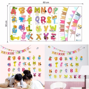 Cartoon Animals Alphabet Wall Decal Stickers For Baby Nursery KidsRoom Decor Multicolor 30*60cm - intl