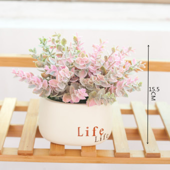 Cherry green potted ball desktop small Bonsaii artificial flowers