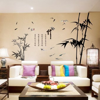 Chinese-style Ink Bamboo living room sofa wall TV backdrop