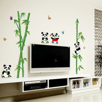 Chinese-style large PANDA bamboo living room TV background wall stickers