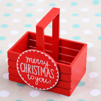 Christmas decorations wooden candy basket