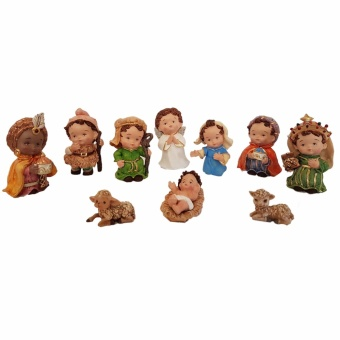 Christmas Nativity Fat Figurine Set of 10 for the Holiday (Made ofFiberglass Resin) by Everything About Santa (Christmas decorationand gift suggestion) Religious Item