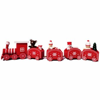 Christmas village miniature wooden train (Set of 5) with Santa Bearand Snowman by Everything About Santa (Christmas decoration andgift suggestion)