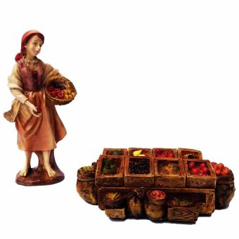Christmas Village Nativity set of 2 Fruit Stand with Girl withbasket of fruits plus apple on the hand Figurine for the Holiday(Made of Fiberglass Resin) by Everything About Santa (Christmasdecoration and gift suggestion)