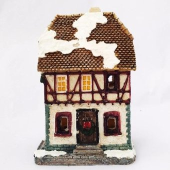 Christmas Village Two-Story House Figurine for the Holiday (Made ofFiberglass Resin) by Everything About Santa (Christmas decorationand gift suggestion)