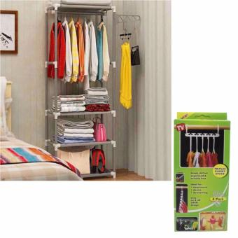 CJY-001 Creative Simple Coat Rack Wardrobe (Gray) with HangerTriples Closet Space (8packet/Set)