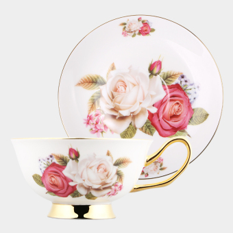 Coffee Tea Cup And Saucer Set Gold-Rimmed Floral Bonechina(Rose) -intl Price Philippines