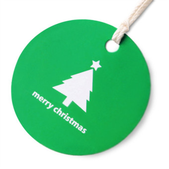 Colorful Green Christmas bottom round tag