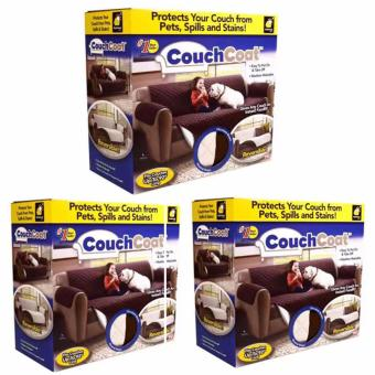 Couch Coat Recliner Cover Long Set of 3 (Brown)