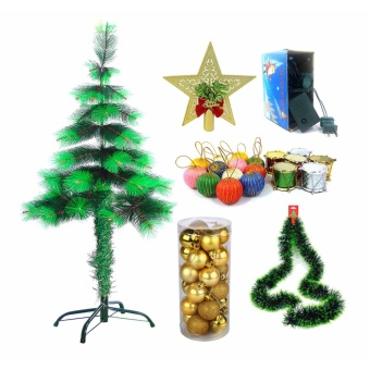 Cute Christmas Tree Xmas Tree Bundle 4ft. Dark Green/Light Green With Balls Star Top Christmas Light Garland Drums
