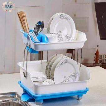 D&D Kitchen Dish Drainer Drying Rack Holder Organizer in Tray