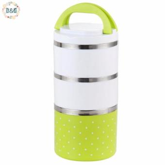 D&D Portable 3 Layers Food Container Stainless Steel LunchBento Insulation Thermo Thermal Food Fruit Storage Box
