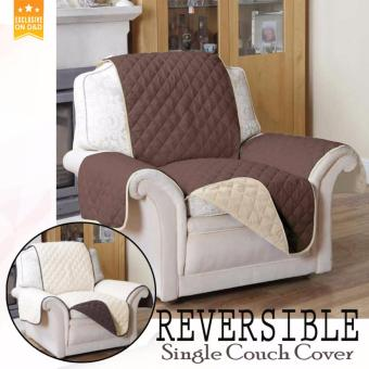 D&D Reversible Single Couch Coat Recliner Cover Brown + Cream