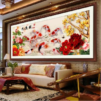 Diamond embroidery 5D Diy diamond Painting Nine Fish PictureNeedlework Cross Stitch Diamond Mosaic Home Decor Wall Sticker(Intl)