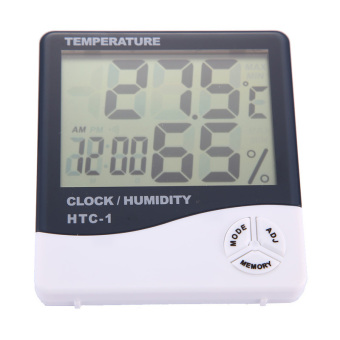Digital LCD Hygrometer Thermometer Alarm Clock 3 In 1(ChargerIncluded)