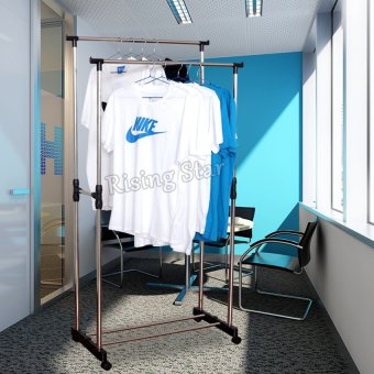 DIY Double Pole Stainless Steel Clothes Rack