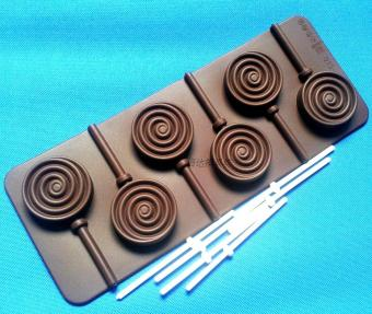 DIY silicone chocolate round Lollipops baking Mold