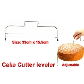 Double Wire Metal Silver Adjustable Cake Cutter Slicer Leveller Leveler - intl