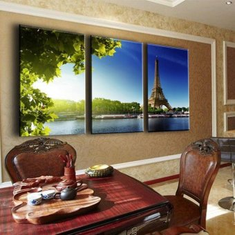Eiffel Tower 3 Panels Building Green Canvas Print Painting Artwork Modern Home Wall Decor Painting Art HD Wall Picture (No frame)