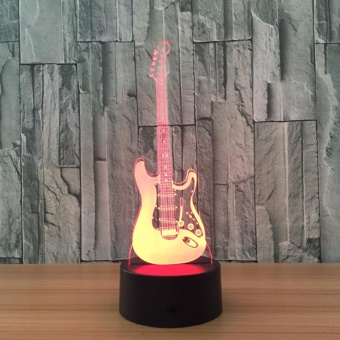 Electric Guitar 3D Night Light 7 Color Change LED Remote ControlTable Lamp USB Sleeping Light - intl Price Philippines