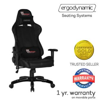 Ergodynamic(TM) F1-BLK LHT Racing Faux Leather Hi-Back Swivel andPneumatic Height Adjustment Gaming Office Chair Furniture (Black)