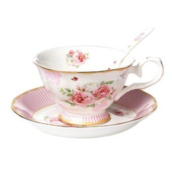European Fashion Roses Stripes Bone China Coffee Cup AndSaucer204ml, Pink - intl