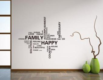 Family Black English Lettered stickers wall stickers