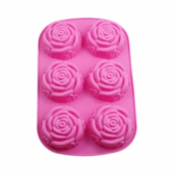 Fancyqube Liquid Silicone Mold Muffin Pan Handmade Soap SiliconeMolds 6 Roses Shape Cake Mold - intl