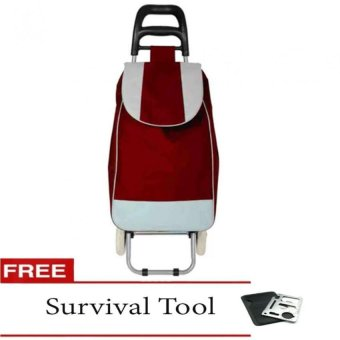 Fashion Folding Wheeled Shopping Trolley Bag (Red) with FreeSurvival Tool