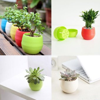 Fengsheng 20Pcs Flower Bucket Balcony Planter Plastic Pots WithDrainage Hole Colorful Garden Ornaments - intl