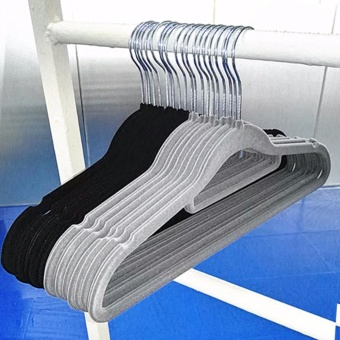 Fengsheng New 50Pcs Non Slip Flocked Velvet Hanger Coat Clothes Trouser Hanging Hangers - intl