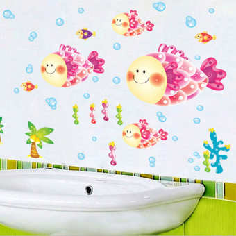 Fish toot pink bathroom wallpaper stickers wall adhesive paper