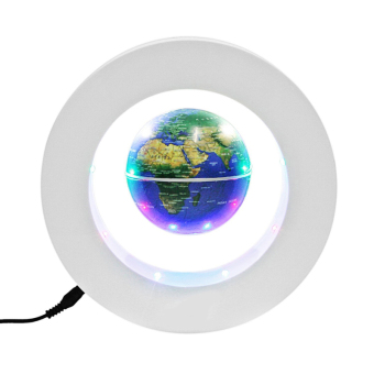 Floating Globe O Shape LED Light World Map Magnetic Levitation HomeDecoration (White+Blue)