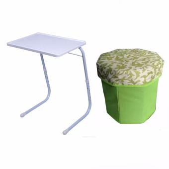 Foldable and Adjustable Multi-Purpose Table Mate 2 (White) with 3D Ottoman Storage Chair Color May Vary & Assorted Design