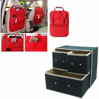 Foldable Woven Clothing Storage Box (Dotted Green) with FreeMultiFunctional Automobile Storage Bag (Red)