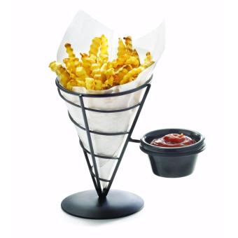 Fries Stand French Fries Chips Stand Holder with Dip Holder (Black)