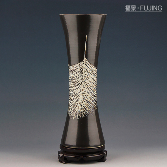 Fu King Chinese ceramic feather drop vase