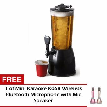 G@Best Beer Tower Dispenser Lights Up 2.5L with LED and Ice Holder with FREE 1 Mini Karaoke K068 Wireless Bluetooth Microphone with Mic Speaker (Gold/Pink)