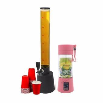 GMY Beer Tower Dispenser Lights Up 2.5L with LED and Ice Holderwith GMY Rechargeable USB Electric Fruit and Vegetable Blender CupJuicer Extractor 380mL (Pink)