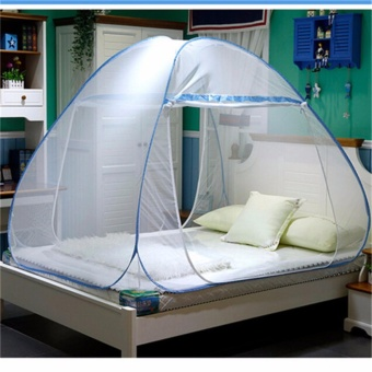 GMY Classic Queen Size Double Plain Mosquito Net (Light Blue)