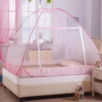 GMY Classic Queen Size Double Plain Mosquito Net (Light Pink)