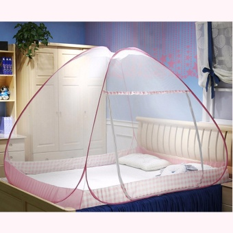 GMY Classic Queen Size Double Plain Mosquito Net (Pink)